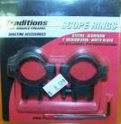"Traditions Scope Rings 1"" Medium Rings Matte Black"